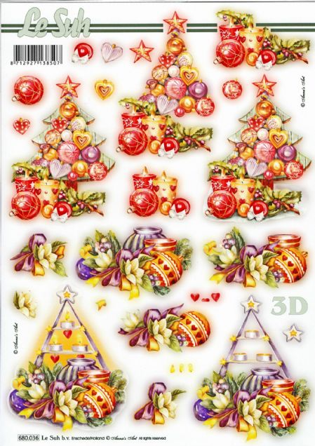 Christmas Tree Baubles  Die Cut 3d Decoupage Sheet - NO CUTTING